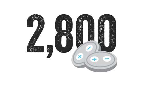 Illustration of two button batteries, displaying the number 2800.